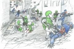 Schafarmee - Teil 3 - Farbstift - Papier DinA3